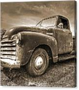 The Workhorse In Sepia - 1953 Chevy Truck Canvas Print