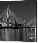 The Zakim Bridge Bw Canvas Print