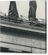 They Don't Like Them Any More; Peron Statues - Covered In Canvas Print