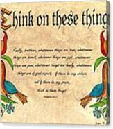 Think On These Things Fraktur Canvas Print