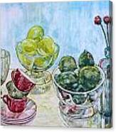 Thinking Of Cezanne Green Canvas Print
