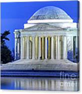 Thomas Jefferson Memorial At Night Reflected In Tidal Basin Canvas Print