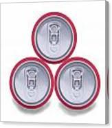 Three Aluminum Drink Cans Shadow Canvas Print