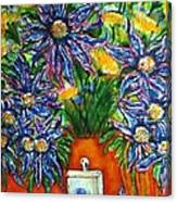 Blue Flowers Yellow And A Perfume Bottle Canvas Print
