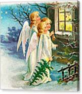 Three Angels In White Dresses Canvas Print