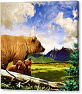 Three Bears In Montana Canvas Print