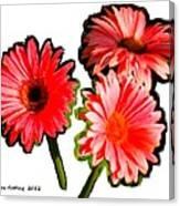 Three Bright Red Flowers Canvas Print