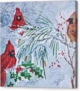 Three Cardinals In The Snow With Holly Canvas Print
