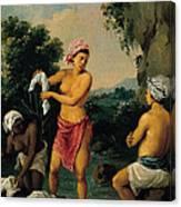 Three Caribbean Washerwomen By A River Canvas Print