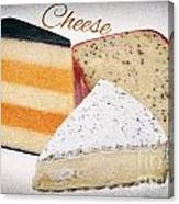 Three Cheese Wedges Distressed Text Canvas Print