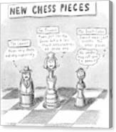 Three Chess Pieces Are Seen On A Chess Board Canvas Print