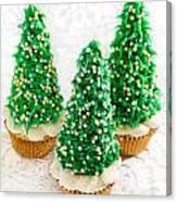 Three Christmastree Cupcakes  Canvas Print