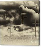 Three Crosses Sepia Canvas Print