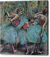 Three Dancers.blue Tutus Red Bodices Canvas Print