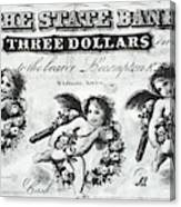 Three Dollar Bill, 1856 Canvas Print