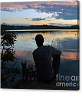 Three Fishing One Pole Canvas Print
