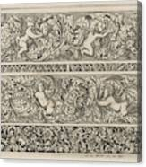 Three Friezes With Leaf Tendrils, Anthonie De Winter Canvas Print