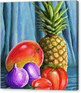 Three Fruits And A Vegetable Canvas Print