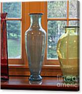 Three Glass Vases In A Window Canvas Print