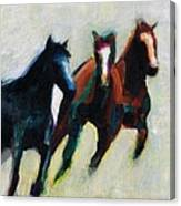 Three Horses On The Diagonal Canvas Print