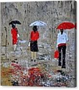 Three In The Rain Canvas Print