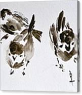 Three Little Birds Perch By My Doorstep Canvas Print