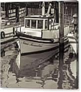 Three Little Boats Sepia Canvas Print