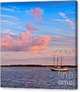 Three Masted Schooner At Anchor In The St Marys River Canvas Print
