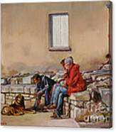 Three Men With A Dog Canvas Print