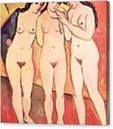 Three Naked Girls Canvas Print