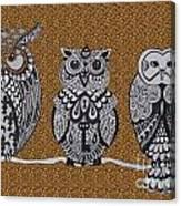 Three Owls On A Branch Leopard Print Canvas Print
