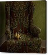 Three Pears Sitting In A Wing Chair Canvas Print