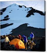 Three People Set Up Camp On Mount Adams Canvas Print