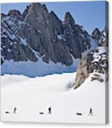Three People Ski-tour On Karale Glacier Canvas Print