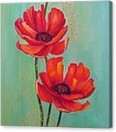Three Red Poppies With Pixie Dust Canvas Print