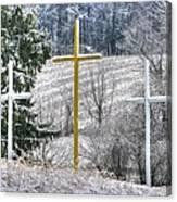 Three Roadside Crosses - Mount Airy Md Winter Canvas Print