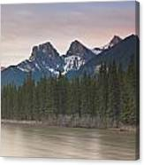 Three Sisters And Bow River Canmore Canvas Print