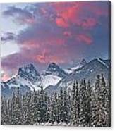 Three Sisters Winter Sunrise Canvas Print