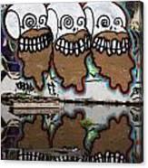 Three Skulls Graffiti Canvas Print