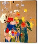 Three Vases Of Flowers Canvas Print