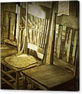 Three Vintage Wooden Chairs Canvas Print