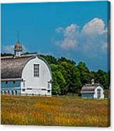Three White Barns Canvas Print