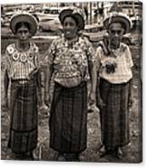 Three Women In Atitlan Canvas Print