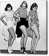 Three Women Lift Their Skirts Canvas Print