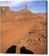 Three Women Mountain Biking In Moab Canvas Print
