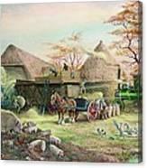 Threshing In Kent Canvas Print