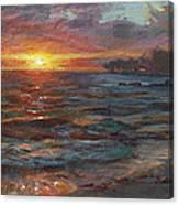 Through The Vog - Hawaii Beach Sunset Canvas Print