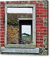 Through Windows At Charles Fort, Ireland Canvas Print