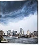Thunderstorm Over Manhattan Downtown Canvas Print