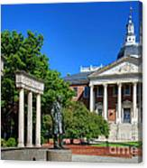 Thurgood Marshall Memorial And Maryland State House Canvas Print